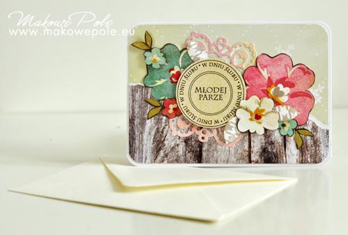 Kartka Młodej Parze, kwiatowa