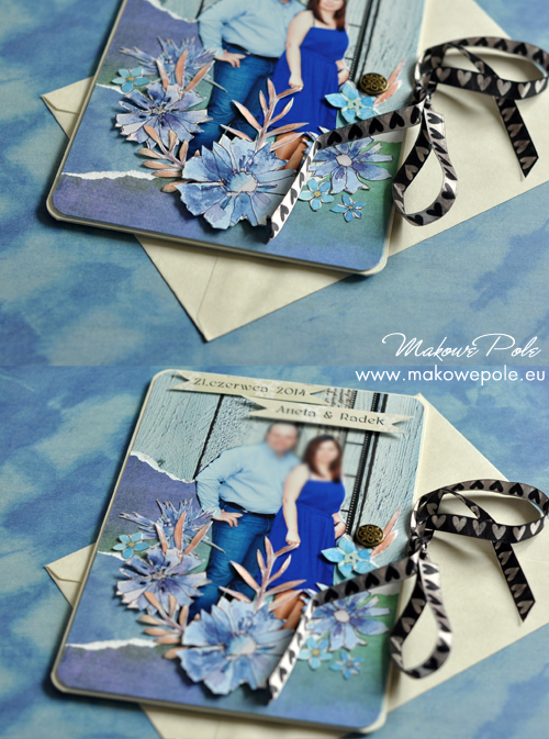 Kartka na ślub, ze zdjęciem, chabrowa