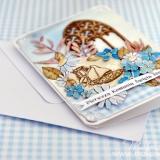 Kartka na Pierwszą Komunię Świętą, niebieska