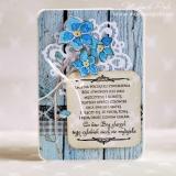 Kartka na ślub, z cytatem, niebieska