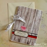 Kartka W dniu ślubu, duża, makowo-drewniana
