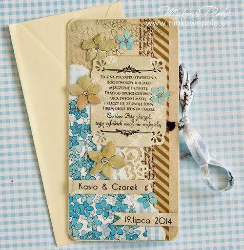 Kartka na ślub, podłużna, z cytatem, K&C