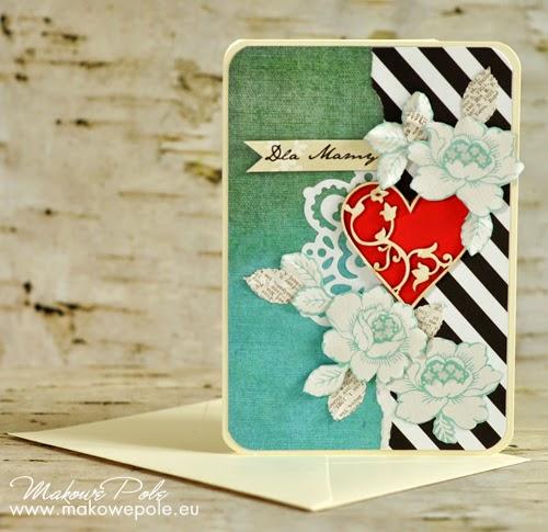 Kartka dla Mamy, z czerwonym sercem