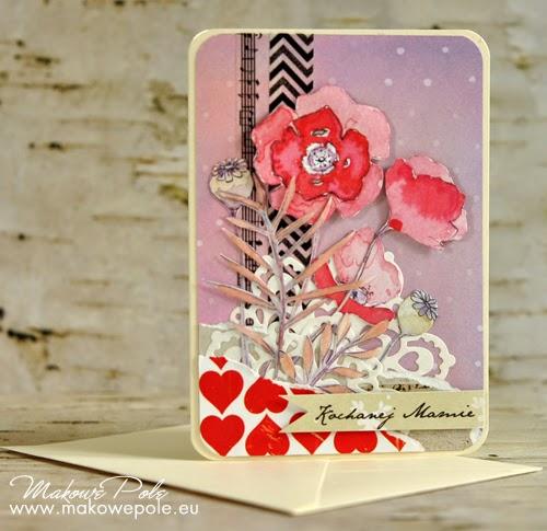 Kartka dla Mamy, makowo-liliowa