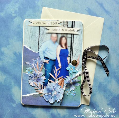 Kartka na ślub, duża ze zdjęciem, chabrowa