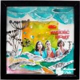 Przestrzenny kolaż-akwarela w ramce, siostry