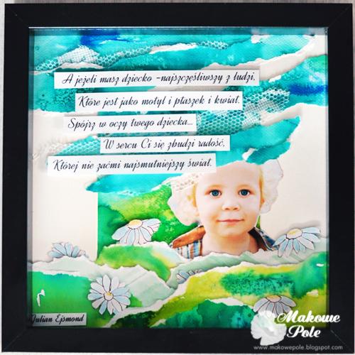 Przestrzenny kolaż-akwarela w ramce, z tekstem, dziecko