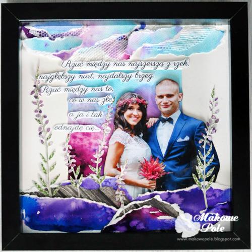 Przestrzenny kolaż-akwarela w ramce, z tekstem, na ślub