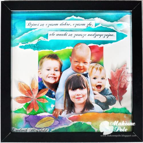 Przestrzenny kolaż-akwarela w ramce, z tekstem, dla babci i dziadka 1